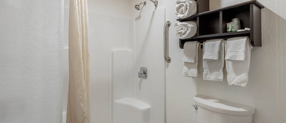 A standing shower with accessible vertical grip bar, next to wooden towel holder above the commode.