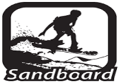 Black and white solid drawing of person on sand board with the word sandboard at the bottom