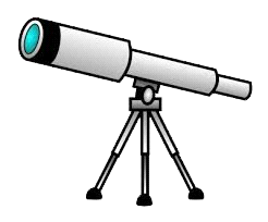 cartoon rendering of a telescope